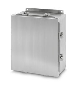 Austin JIC Clamp Cover Type 304 Stainless Steel NEMA 4X (JFCX) box Cabinets Enclosures Housings are Underwriters Laboratories Listed and are designed for housing electrical components in highly corrosive environments. They are designed for indoor or outdoor use primarily to provide a degree of protection against corrosion, windblown dust and rain, splashing water, hose directed water and damage from external ice formation.
